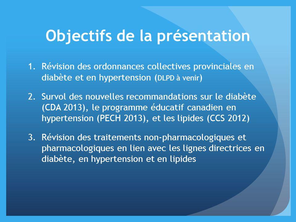 Objectifs de la présentation 1.Révision des ordonnances collectives provinciales en diabète et en hypertension ( DLPD à venir ) 2.Survol des nouvelles