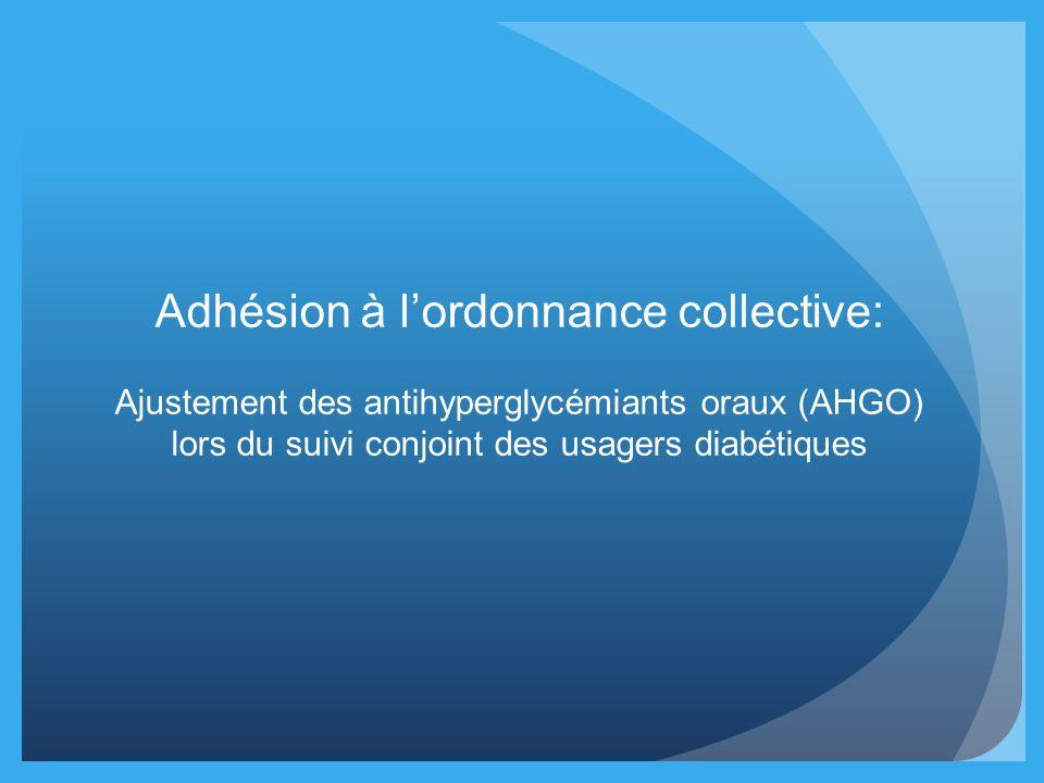 Adhésion à lordonnance collective: Ajustement des antihyperglycémiants oraux (AHGO) lors du suivi conjoint des usagers diabétiques
