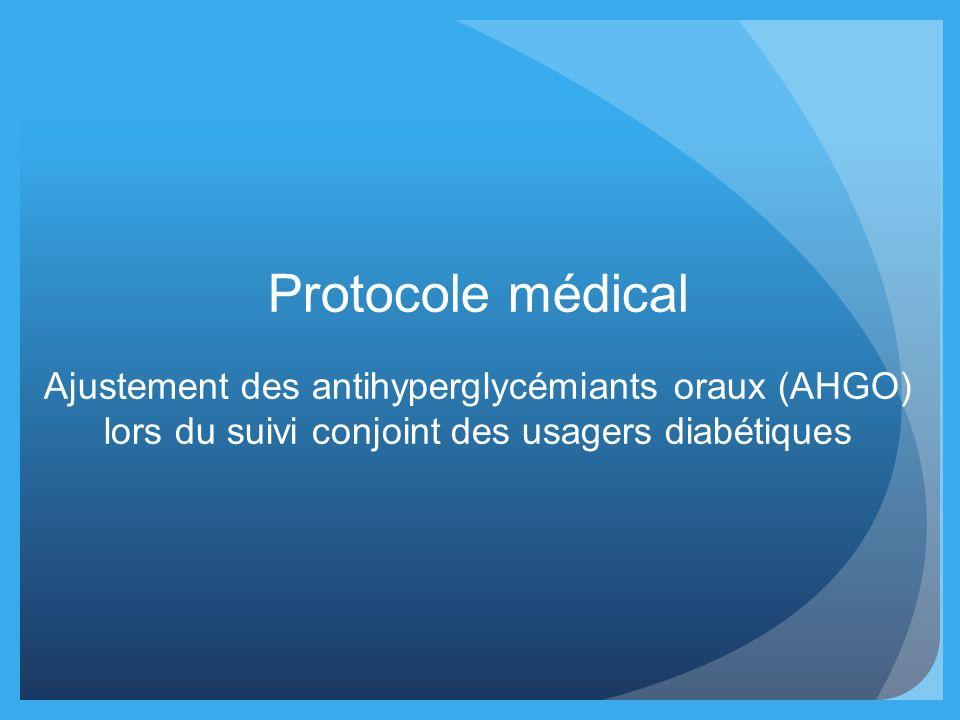 Protocole médical Ajustement des antihyperglycémiants oraux (AHGO) lors du suivi conjoint des usagers diabétiques
