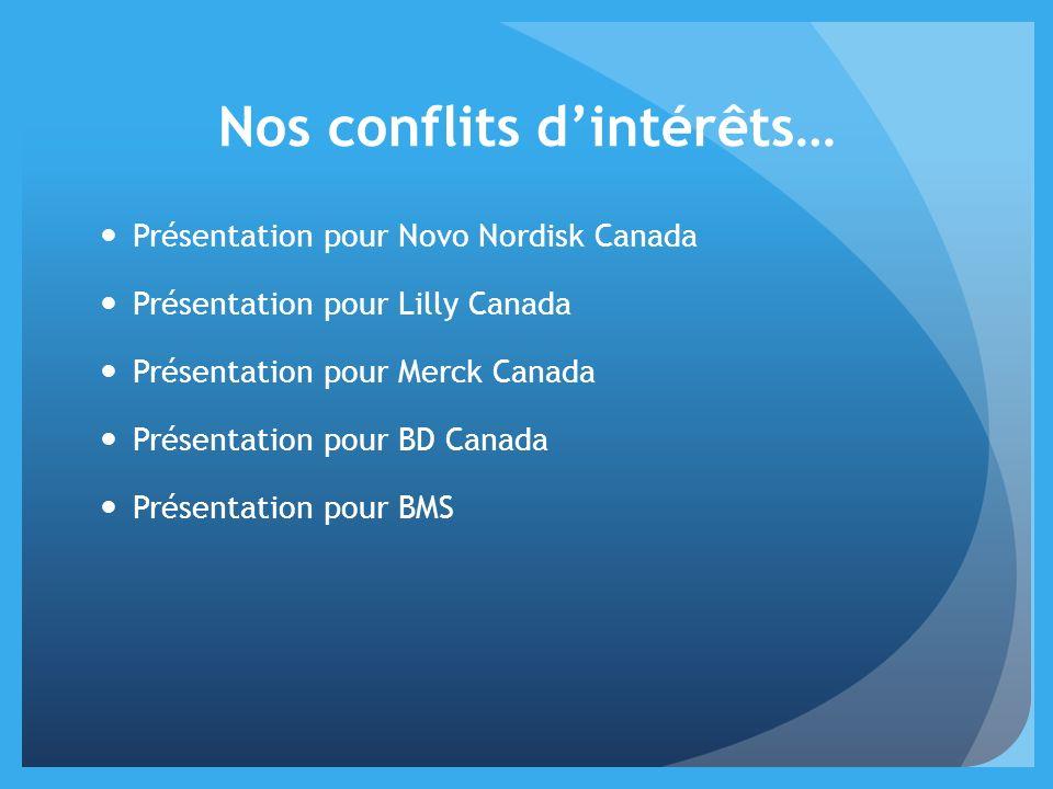 Nos conflits dintérêts… Présentation pour Novo Nordisk Canada Présentation pour Lilly Canada Présentation pour Merck Canada Présentation pour BD Canad
