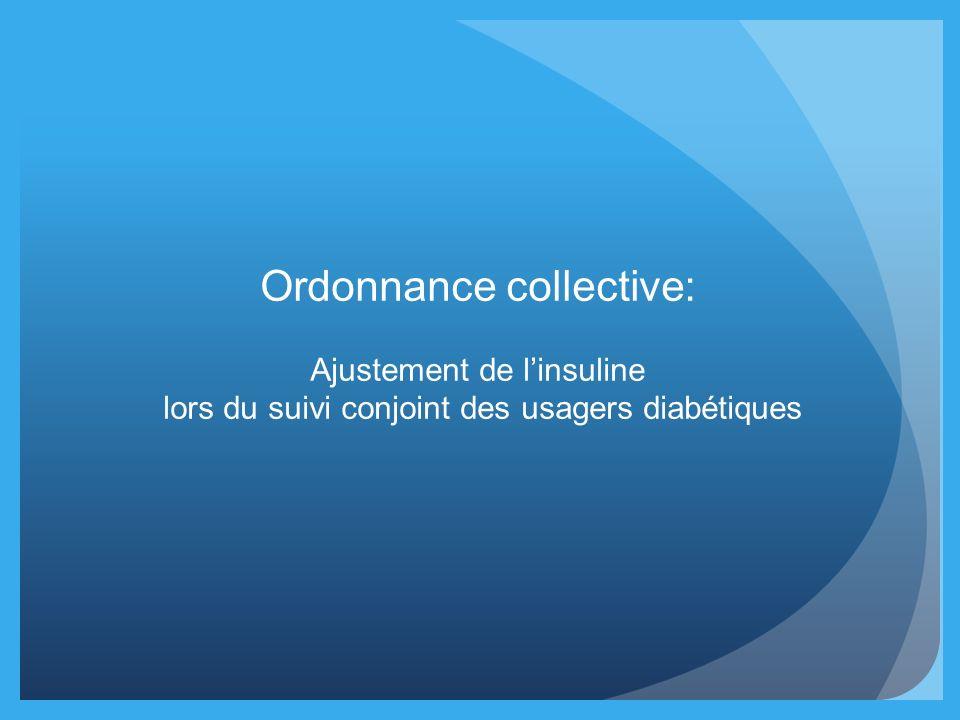 Ordonnance collective: Ajustement de linsuline lors du suivi conjoint des usagers diabétiques