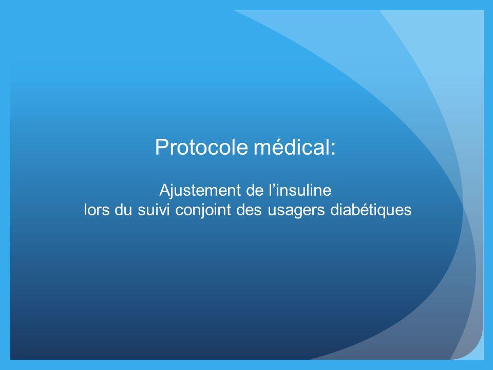 Protocole médical: Ajustement de linsuline lors du suivi conjoint des usagers diabétiques