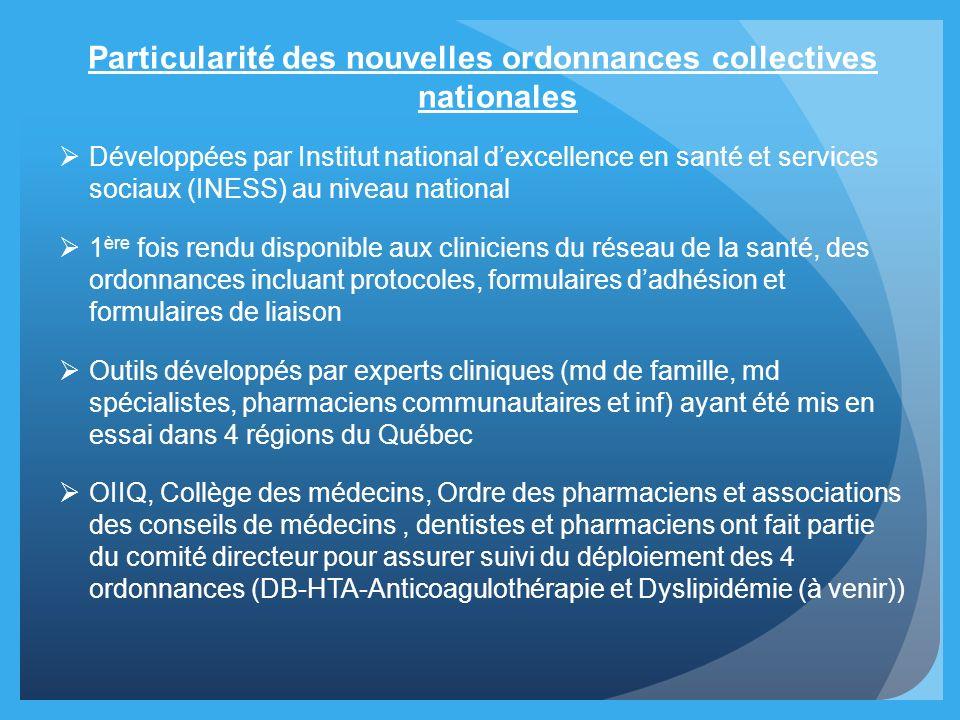 Particularité des nouvelles ordonnances collectives nationales Développées par Institut national dexcellence en santé et services sociaux (INESS) au n