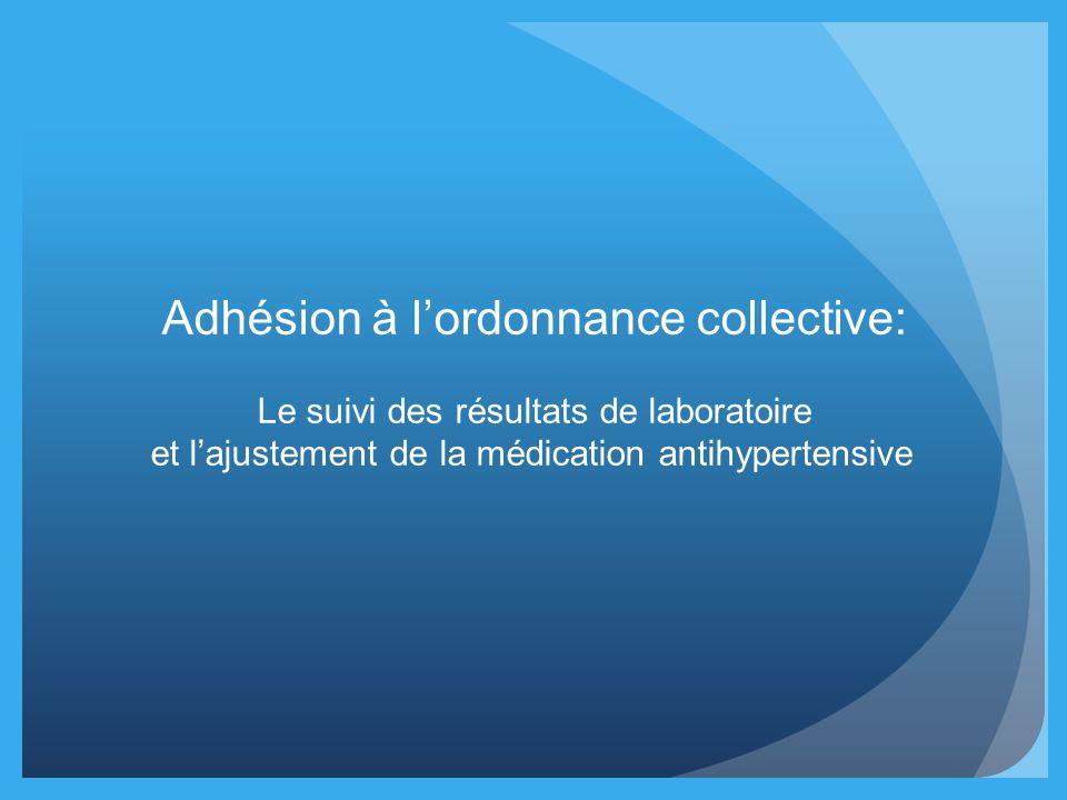 Adhésion à lordonnance collective: Le suivi des résultats de laboratoire et lajustement de la médication antihypertensive