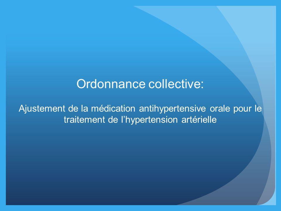 Ordonnance collective: Ajustement de la médication antihypertensive orale pour le traitement de lhypertension artérielle