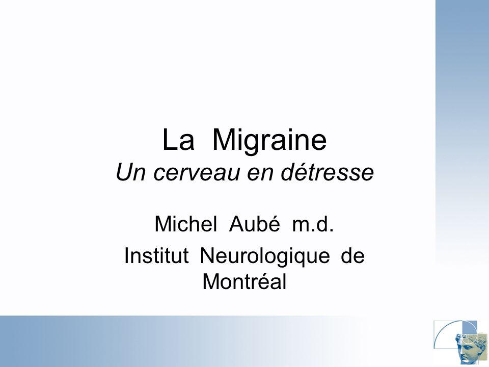 Estrogènes et Migraine: évidences Effets de : –Grossesse: Amélioration surtout aux 2e et 3e trimestre (MO) Apparition de novo: surtout MA –Anovulants (effets variables) Aggravation : 18-55% surtout lors du retrait mensuel –Surtout Migraine avec aura Aucun changement 30-40% Amélioration: 5 – 10% Apparition de novo de la migraine –Surtout Migraine avec aura