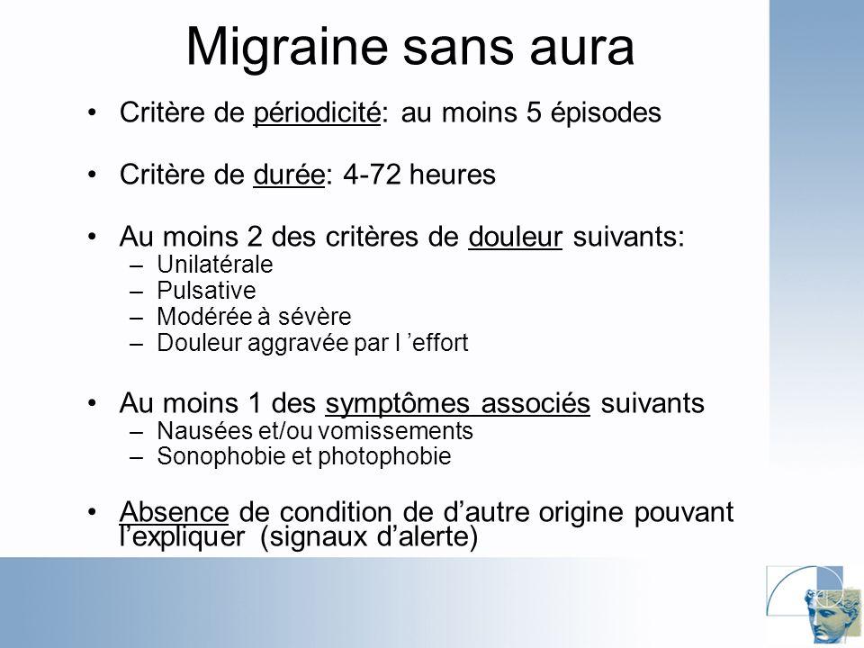 Migraine sans aura Critère de périodicité: au moins 5 épisodes Critère de durée: 4-72 heures Au moins 2 des critères de douleur suivants: –Unilatérale –Pulsative –Modérée à sévère –Douleur aggravée par l effort Au moins 1 des symptômes associés suivants –Nausées et/ou vomissements –Sonophobie et photophobie Absence de condition de dautre origine pouvant lexpliquer (signaux dalerte)