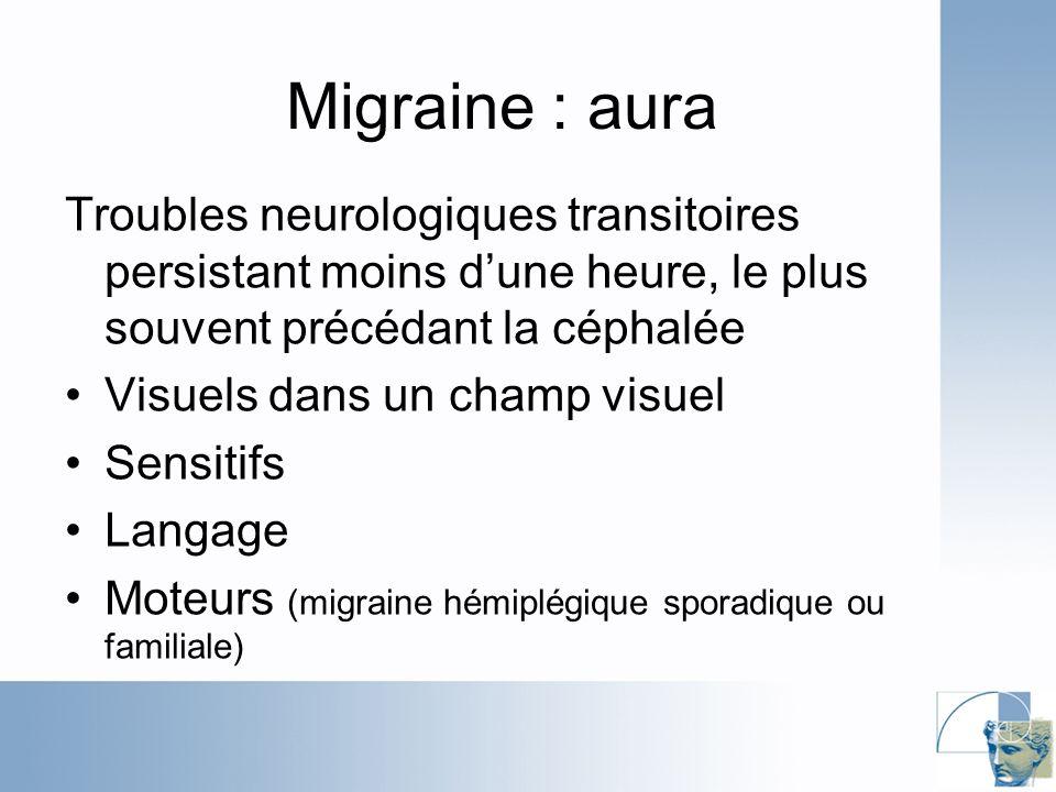 Migraine : aura Troubles neurologiques transitoires persistant moins dune heure, le plus souvent précédant la céphalée Visuels dans un champ visuel Sensitifs Langage Moteurs (migraine hémiplégique sporadique ou familiale)