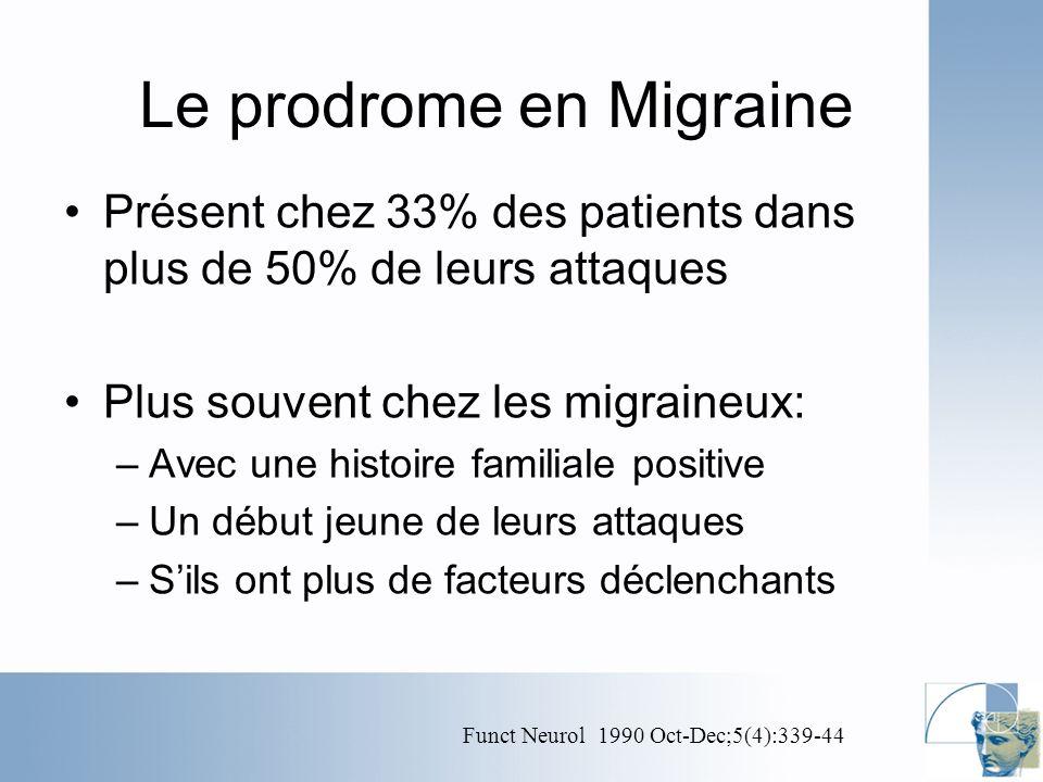 Le prodrome en Migraine Présent chez 33% des patients dans plus de 50% de leurs attaques Plus souvent chez les migraineux: –Avec une histoire familiale positive –Un début jeune de leurs attaques –Sils ont plus de facteurs déclenchants Funct Neurol 1990 Oct-Dec;5(4):339-44