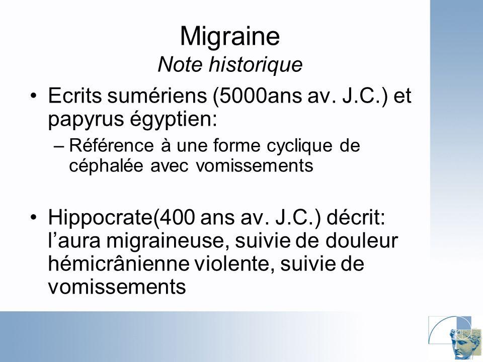 Migraine Note historique Ecrits sumériens (5000ans av.