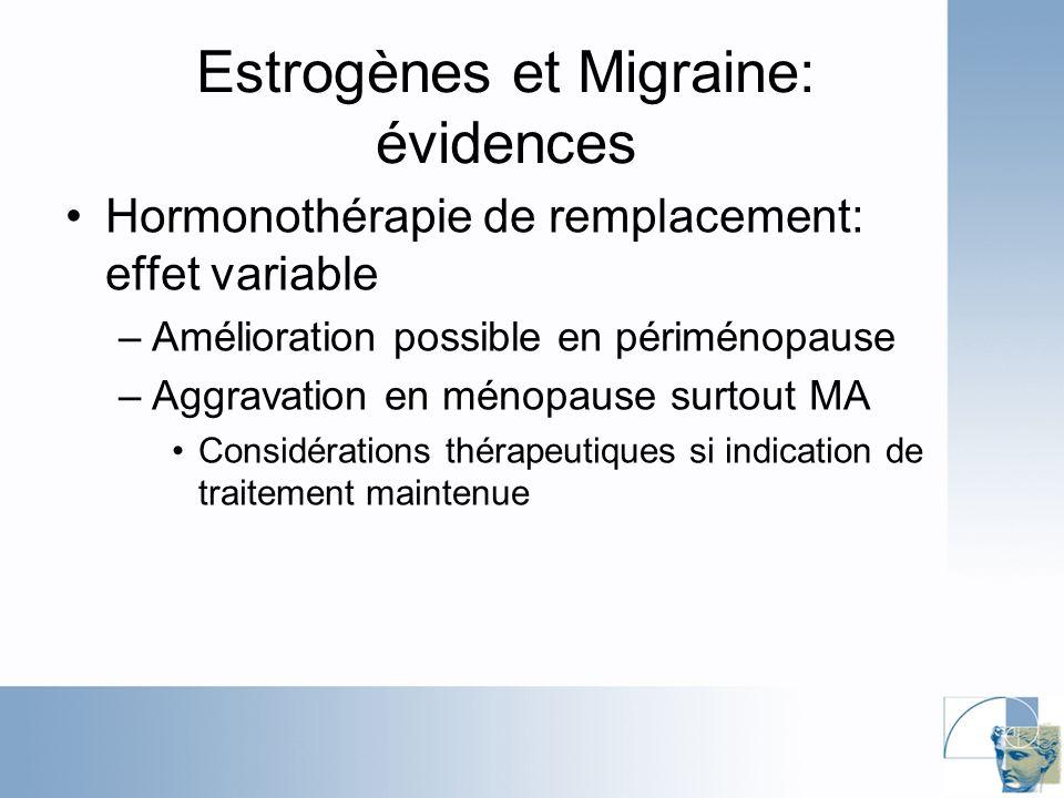 Estrogènes et Migraine: évidences Hormonothérapie de remplacement: effet variable –Amélioration possible en périménopause –Aggravation en ménopause surtout MA Considérations thérapeutiques si indication de traitement maintenue