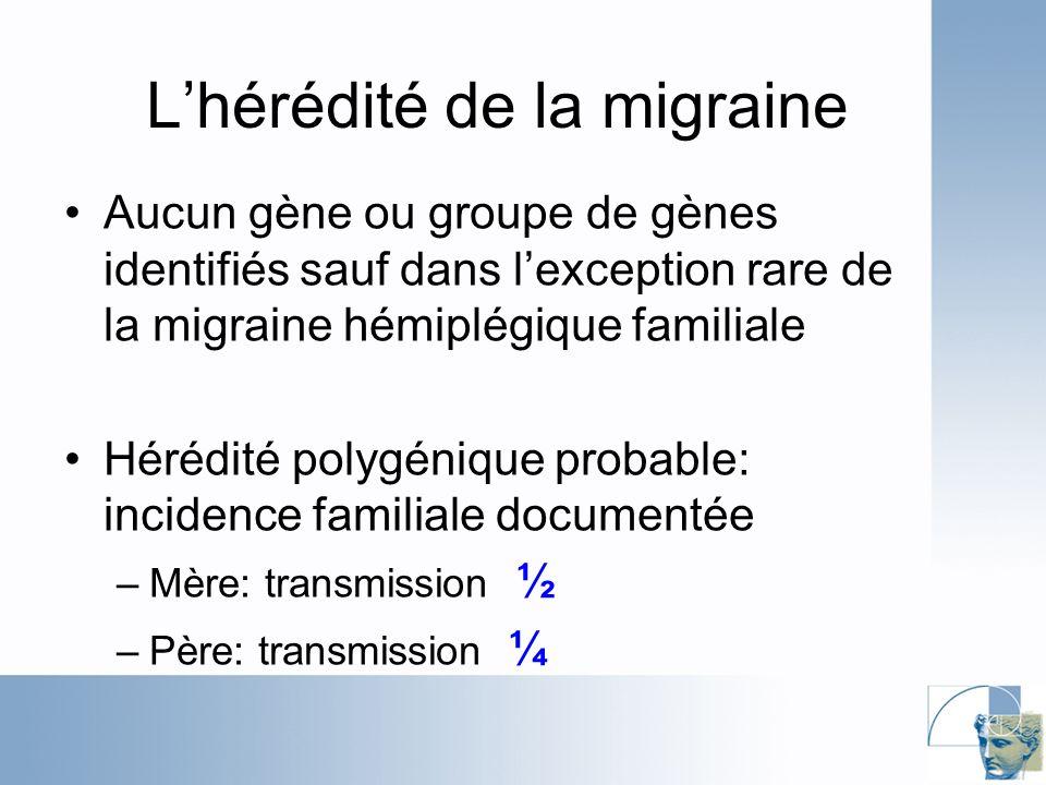 Lhérédité de la migraine Aucun gène ou groupe de gènes identifiés sauf dans lexception rare de la migraine hémiplégique familiale Hérédité polygénique probable: incidence familiale documentée –Mère: transmission ½ –Père: transmission ¼