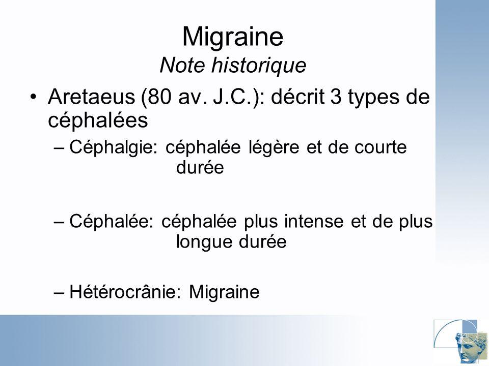 Cephalalgia 2004;24:704-716 Migraine Menstruelle: spécificités Mal migraineux: ORs 3.5-9.5 Douleur intense/très intense : ORs 1.23-2.98 Traitement plus ardu Stat.