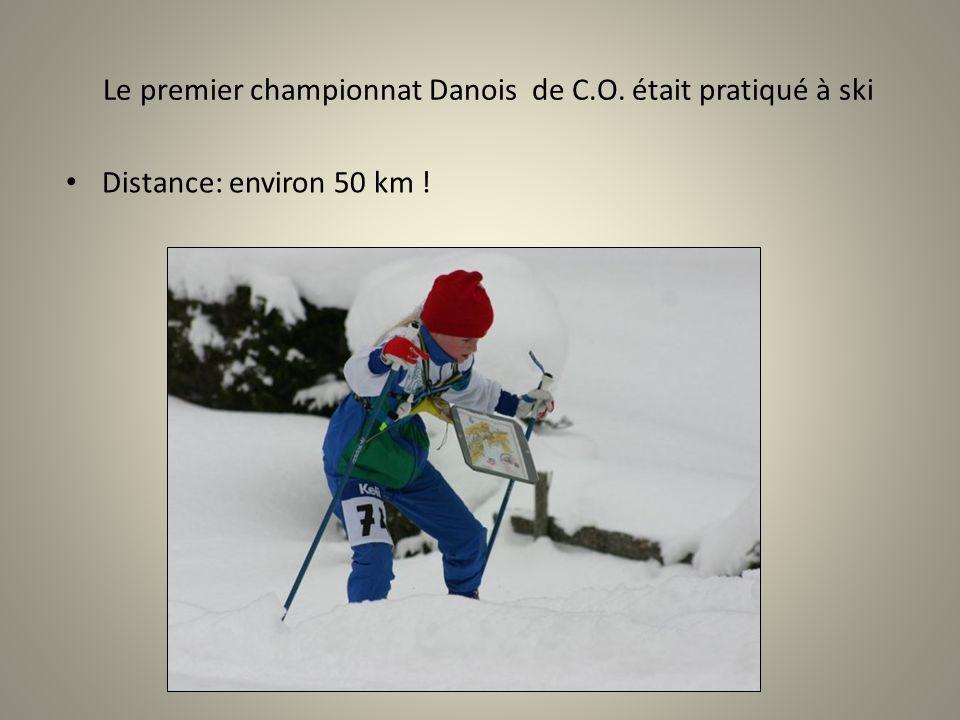 Le premier championnat Danois de C.O. était pratiqué à ski Distance: environ 50 km !