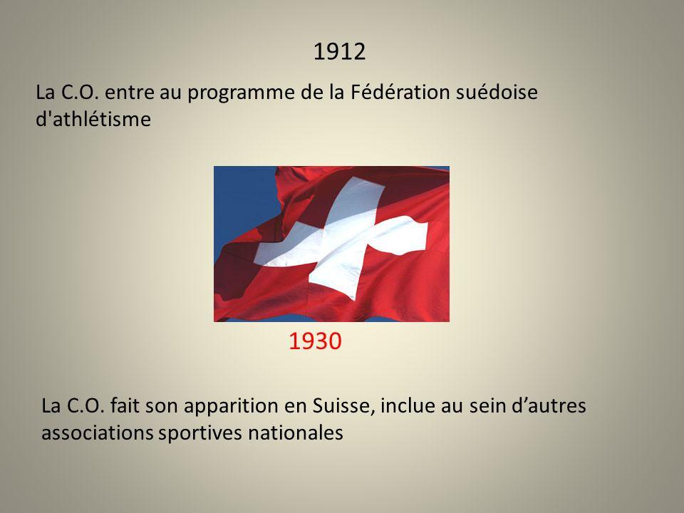 1912 La C.O. entre au programme de la Fédération suédoise d athlétisme 1930 La C.O.