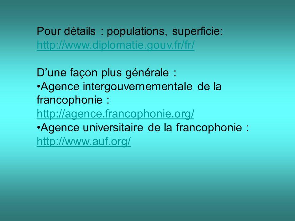 Pour détails : populations, superficie: http://www.diplomatie.gouv.fr/fr/ http://www.diplomatie.gouv.fr/fr/ Dune façon plus générale : Agence intergouvernementale de la francophonie : http://agence.francophonie.org/ http://agence.francophonie.org/ Agence universitaire de la francophonie : http://www.auf.org/ http://www.auf.org/