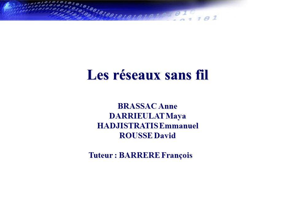 1 Les réseaux sans fil BRASSAC Anne DARRIEULAT Maya HADJISTRATIS Emmanuel ROUSSE David Tuteur : BARRERE François