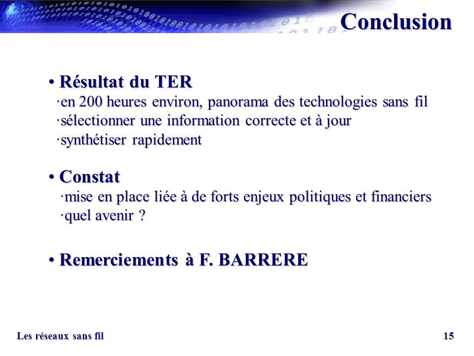 15 Les réseaux sans fil Conclusion Constat Constat Remerciements à F. BARRERE Remerciements à F. BARRERE Résultat du TER Résultat du TER ·en 200 heure