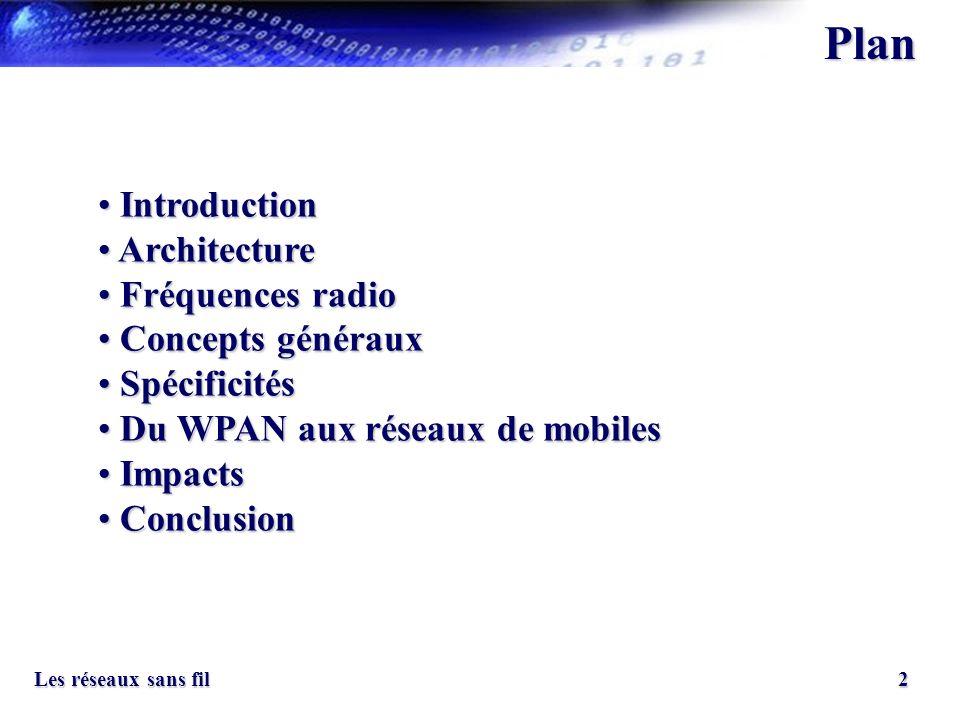 2 Les réseaux sans fil Introduction Introduction Architecture Architecture Fréquences radio Fréquences radio Concepts généraux Concepts généraux Spéci