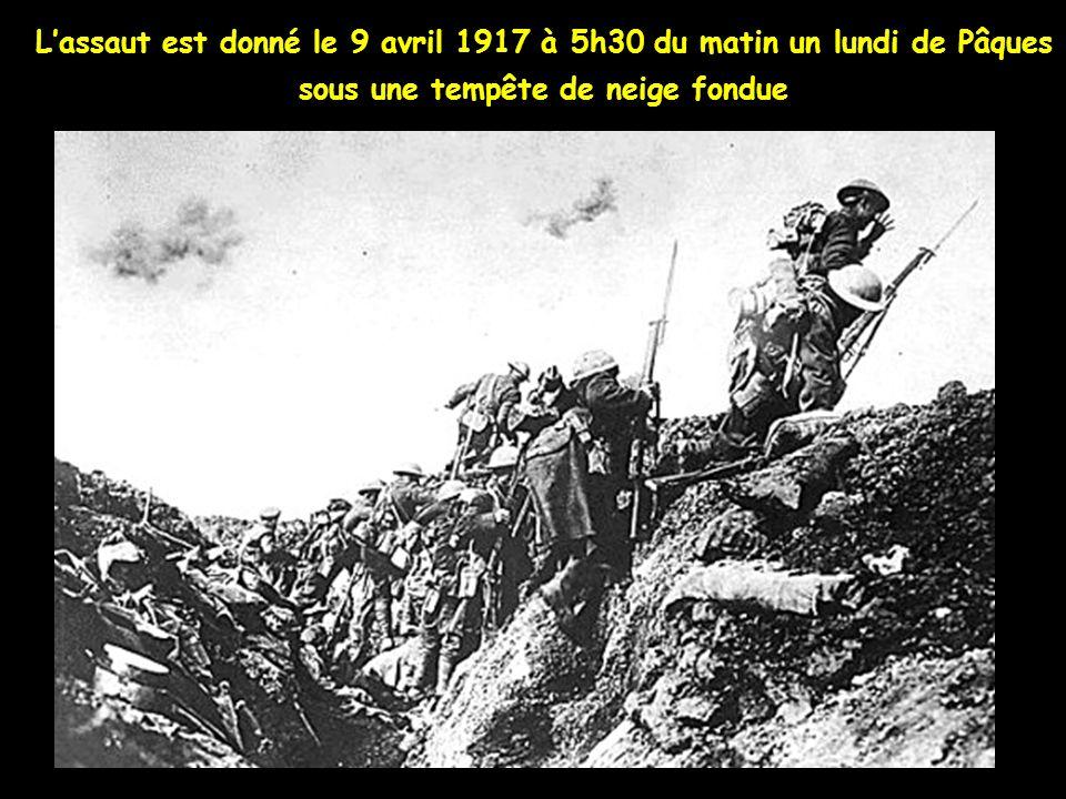 Lartillerie Canadienne commence le pilonnage des Lignes Allemandes le 9 avril au matin