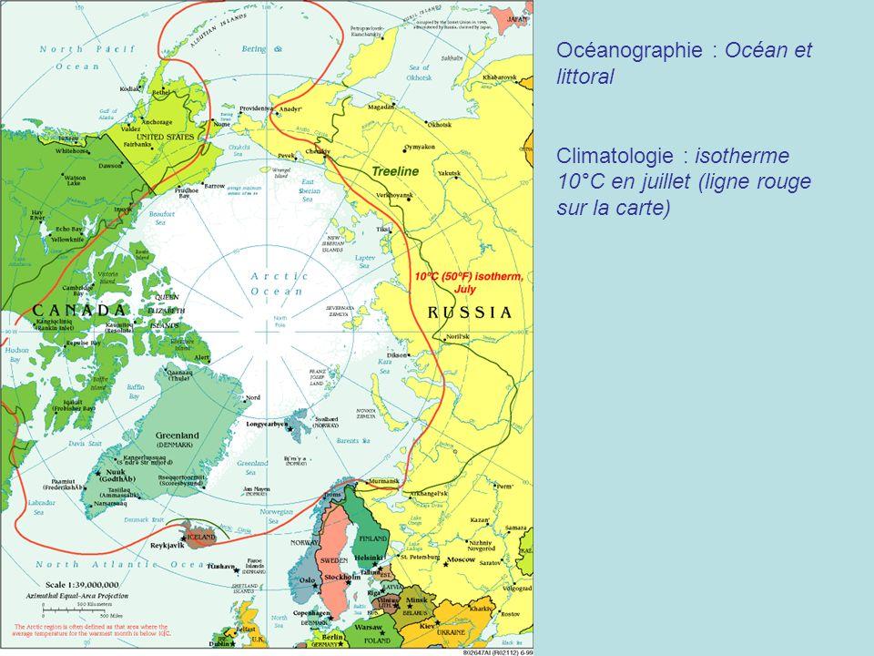 Océanographie : Océan et littoral Climatologie : isotherme 10°C en juillet (ligne rouge sur la carte)