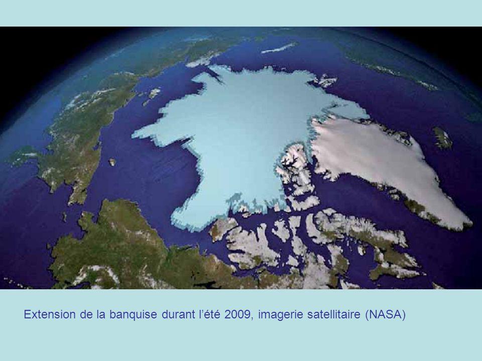 Extension de la banquise durant lété 2009, imagerie satellitaire (NASA)