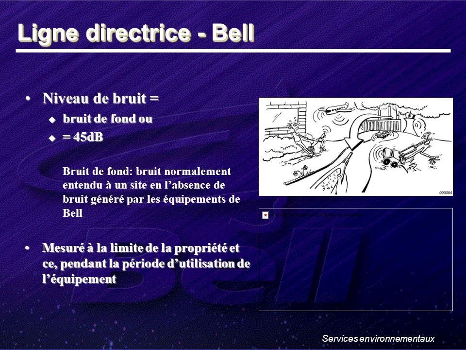 Services environnementaux Niveau de bruit =Niveau de bruit = bruit de fond ou bruit de fond ou = 45dB = 45dB Bruit de fond: bruit normalement entendu à un site en labsence de bruit généré par les équipements de Bell Mesuré à la limite de la propriété et ce, pendant la période dutilisation de léquipementMesuré à la limite de la propriété et ce, pendant la période dutilisation de léquipement Ligne directrice - Bell