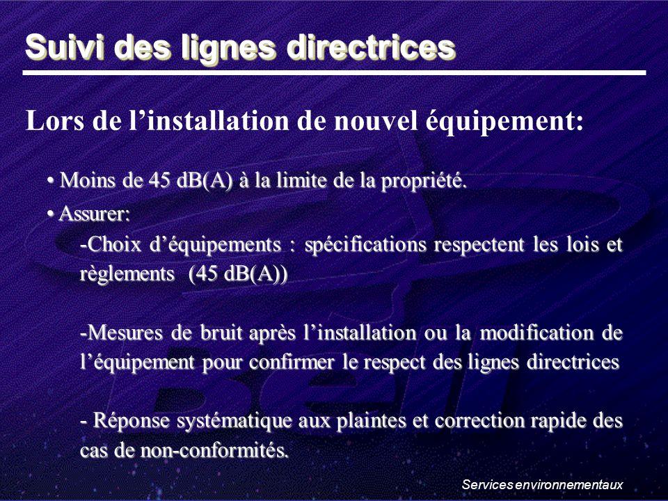 Services environnementaux Lors de linstallation de nouvel équipement: Moins de 45 dB(A) à la limite de la propriété.