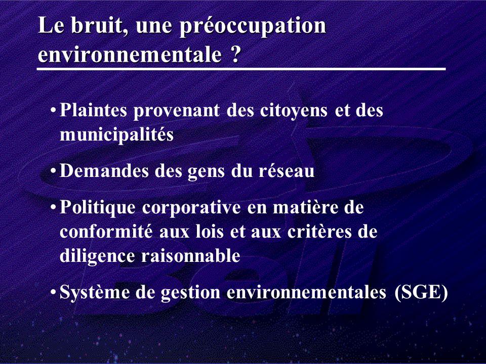 Plaintes provenant des citoyens et des municipalités Demandes des gens du réseau Politique corporative en matière de conformité aux lois et aux critères de diligence raisonnable Système de gestion environnementales (SGE) Le bruit, une préoccupation environnementale