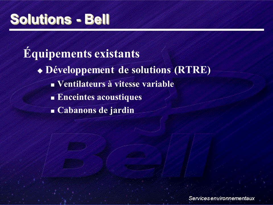 Services environnementaux Équipements existants Développement de solutions (RTRE) Ventilateurs à vitesse variable Enceintes acoustiques Cabanons de jardin Solutions - Bell