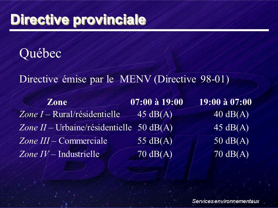 Services environnementaux Québec Directive émise par le MENV (Directive 98-01) Zone07:00 à 19:00 19:00 à 07:00 Zone I – Rural/résidentielle 45 dB(A)40 dB(A) Zone II – Urbaine/résidentielle 50 dB(A)45 dB(A) Zone III – Commerciale 55 dB(A)50 dB(A) Zone IV – Industrielle 70 dB(A)70 dB(A) Directive provinciale