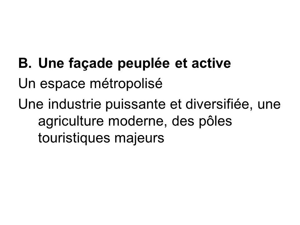 B.Une façade peuplée et active Un espace métropolisé Une industrie puissante et diversifiée, une agriculture moderne, des pôles touristiques majeurs
