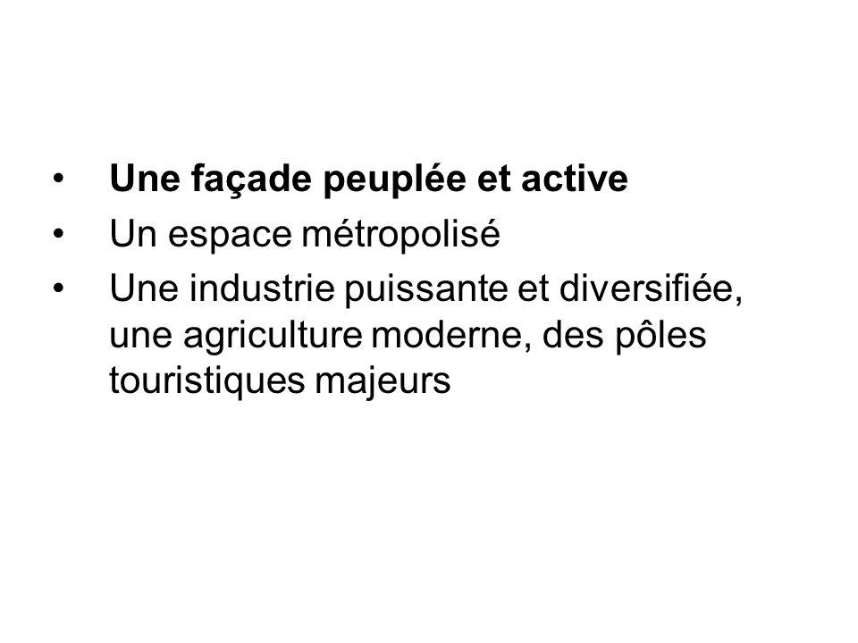 Une façade peuplée et active Un espace métropolisé Une industrie puissante et diversifiée, une agriculture moderne, des pôles touristiques majeurs