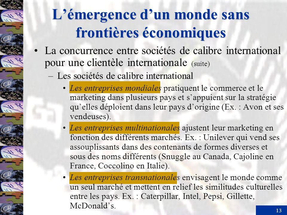 13 Lémergence dun monde sans frontières économiques La concurrence entre sociétés de calibre international pour une clientèle internationale (suite) –