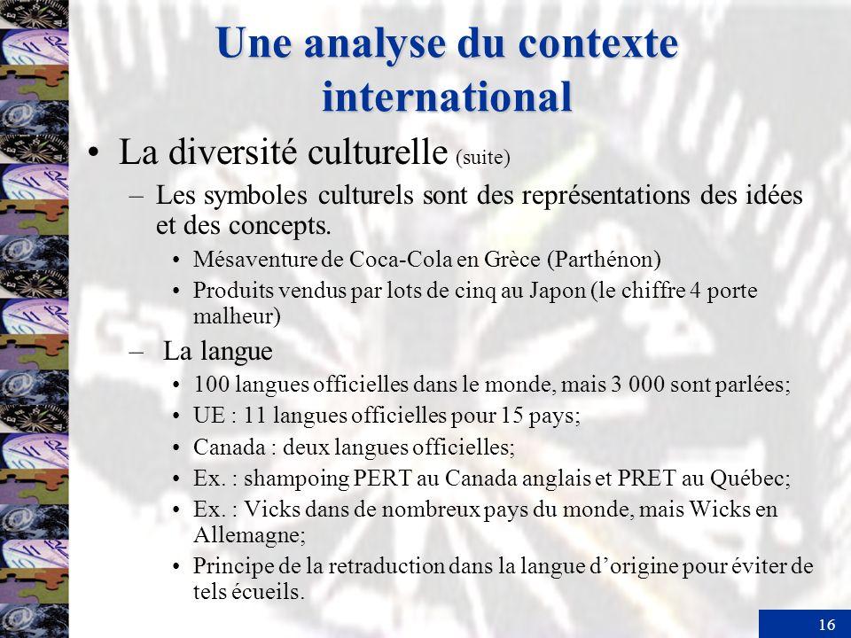 16 Une analyse du contexte international La diversité culturelle (suite) –Les symboles culturels sont des représentations des idées et des concepts.