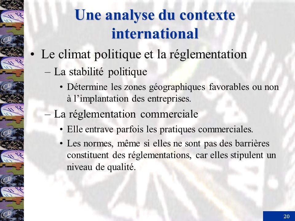 20 Une analyse du contexte international Le climat politique et la réglementation –La stabilité politique Détermine les zones géographiques favorables ou non à limplantation des entreprises.