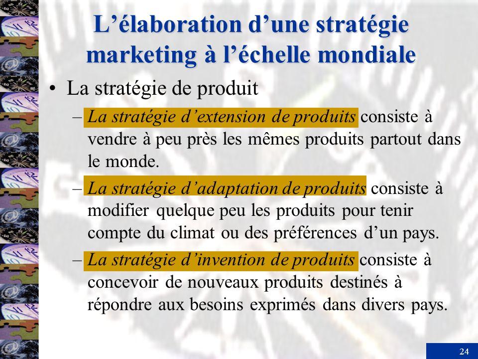 24 Lélaboration dune stratégie marketing à léchelle mondiale La stratégie de produit –La stratégie dextension de produits consiste à vendre à peu près
