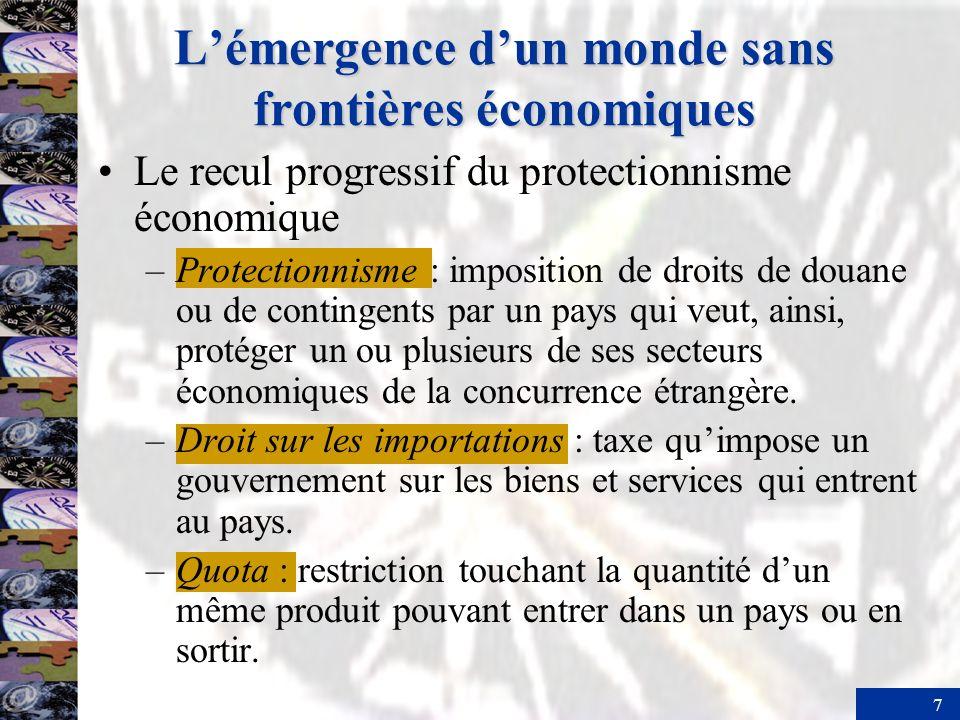 7 Lémergence dun monde sans frontières économiques Le recul progressif du protectionnisme économique –Protectionnisme : imposition de droits de douane ou de contingents par un pays qui veut, ainsi, protéger un ou plusieurs de ses secteurs économiques de la concurrence étrangère.