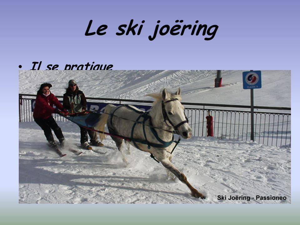 Le ski joëring Il se pratique avec un cheval ou un poney attelé qui tire le skieur grâce à un cadre rigide.