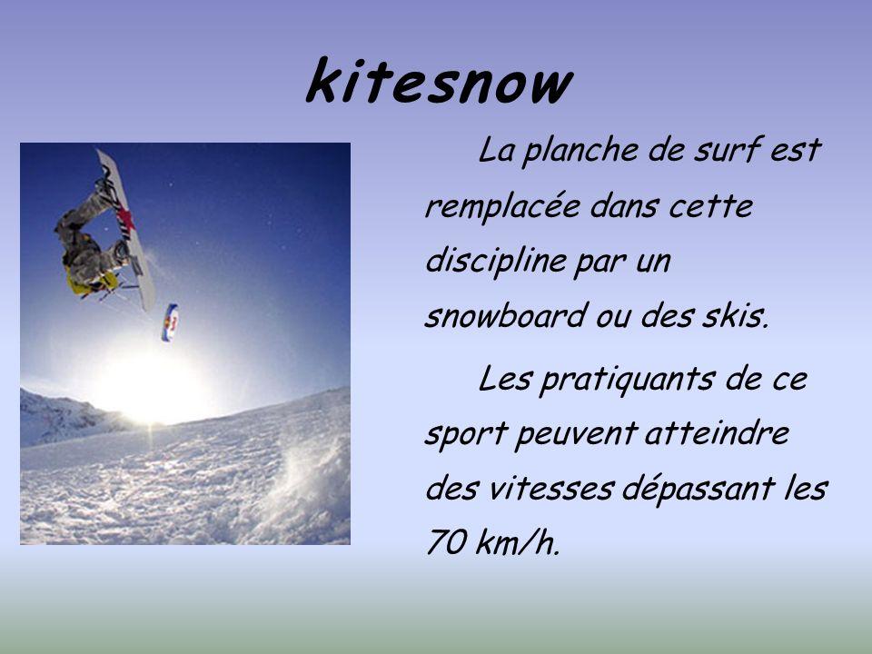 kitesnow La planche de surf est remplacée dans cette discipline par un snowboard ou des skis.