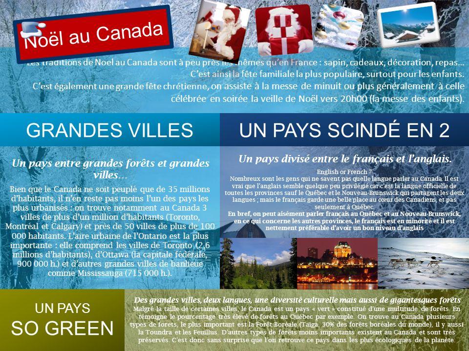 Les traditions de Noel au Canada sont à peu près les mêmes quen France : sapin, cadeaux, décoration, repas… Cest ainsi la fête familiale la plus popul