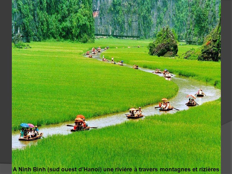 A Ninh Binh (sud ouest dHanoi) une rivière à travers montagnes et rizières