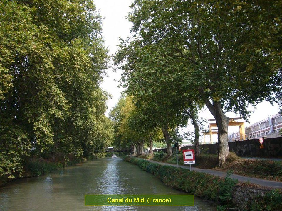 Ce canal relie la Méditéranée à locéan Atlantique par le fleuve de la Garonne. Les travaux de construction durent 15 ans et demande la participation d