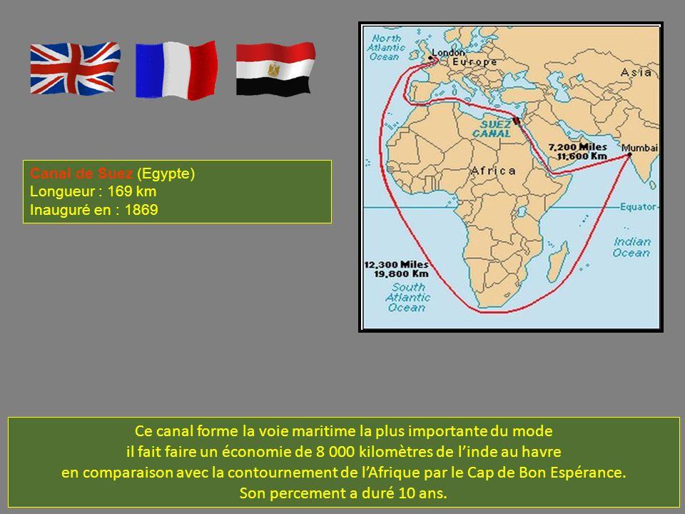 Ce canal forme la voie maritime la plus importante du mode il fait faire un économie de 8 000 kilomètres de linde au havre en comparaison avec la contournement de lAfrique par le Cap de Bon Espérance.