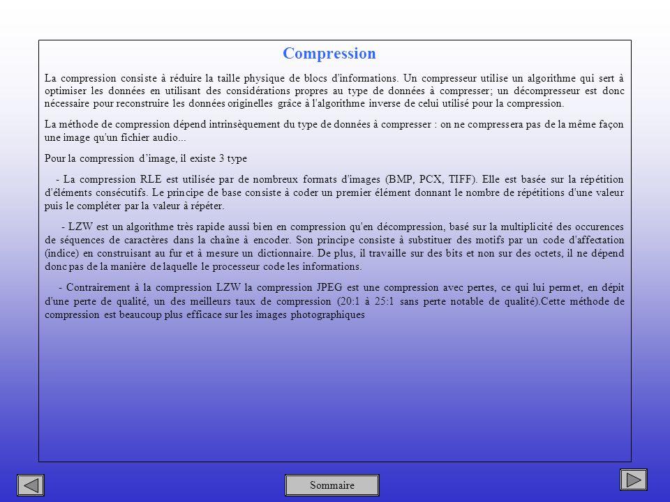 Sommaire Compression La compression consiste à réduire la taille physique de blocs d informations.