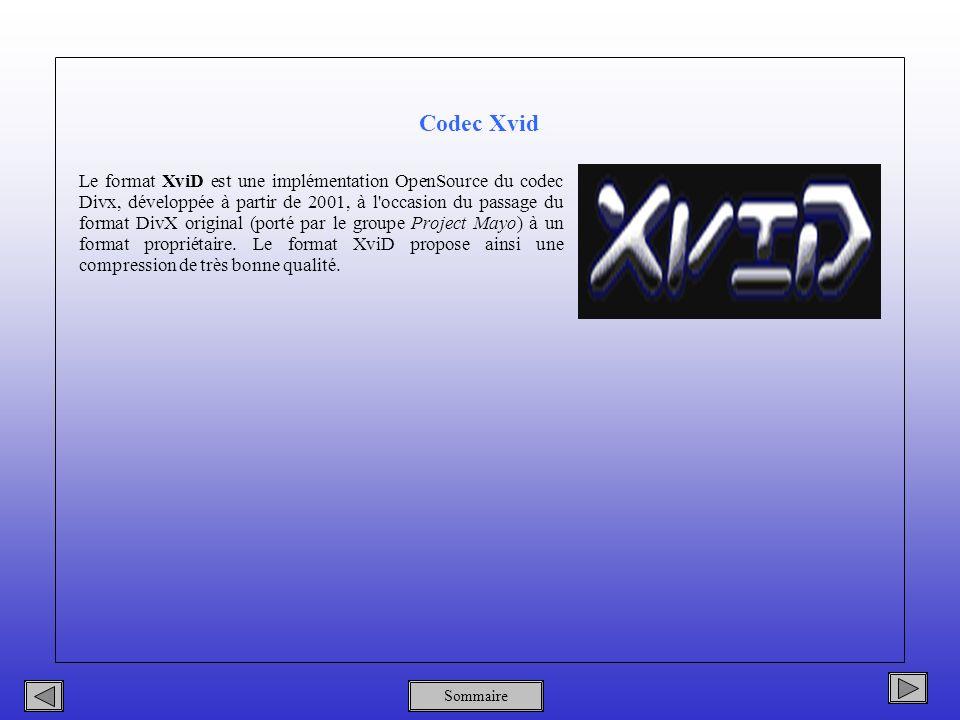 Sommaire Codec Xvid Le format XviD est une implémentation OpenSource du codec Divx, développée à partir de 2001, à l occasion du passage du format DivX original (porté par le groupe Project Mayo) à un format propriétaire.