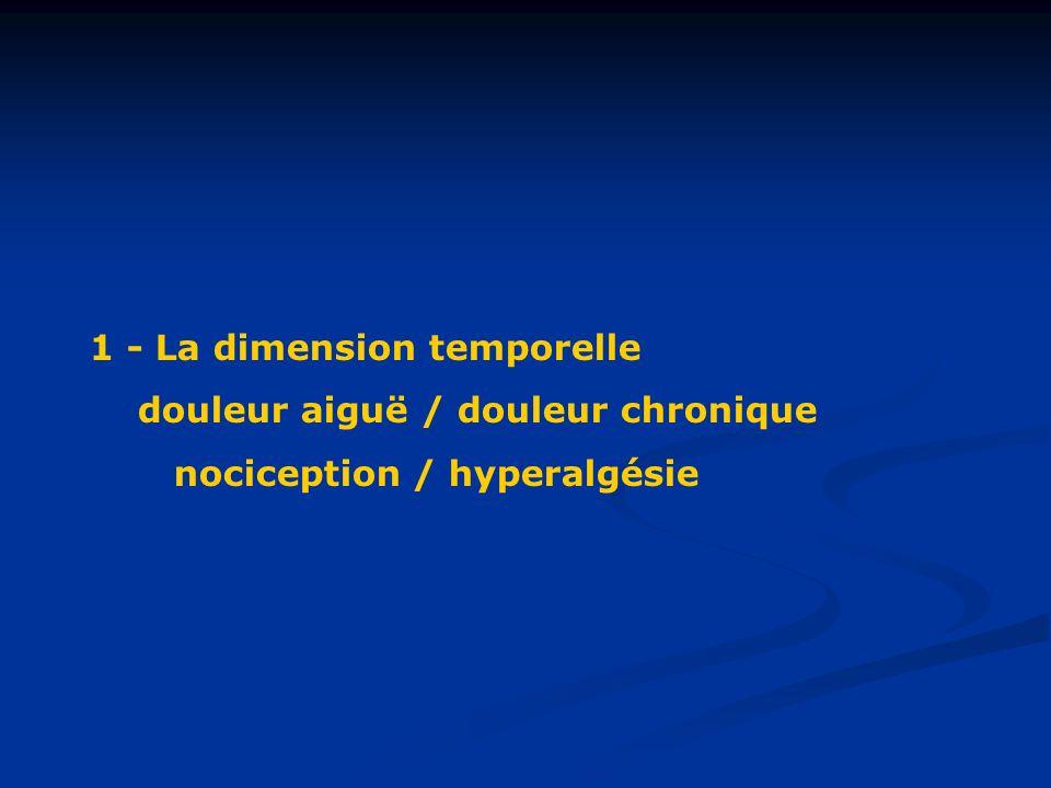 1 - La dimension temporelle douleur aiguë / douleur chronique nociception / hyperalgésie