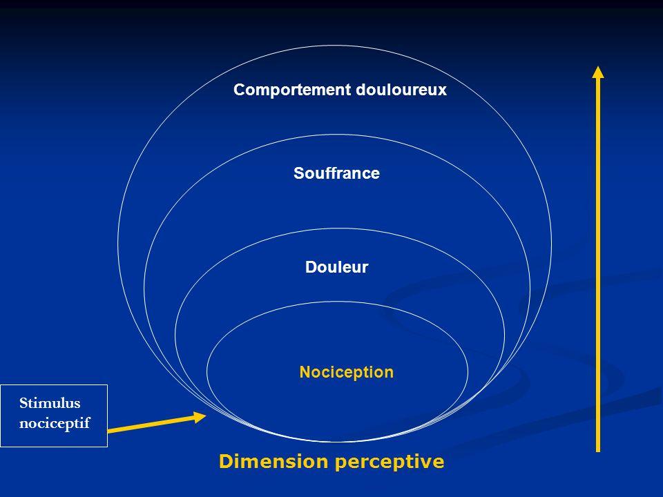 Nociception Douleur Souffrance Comportement douloureux Dimension perceptive Stimulus nociceptif