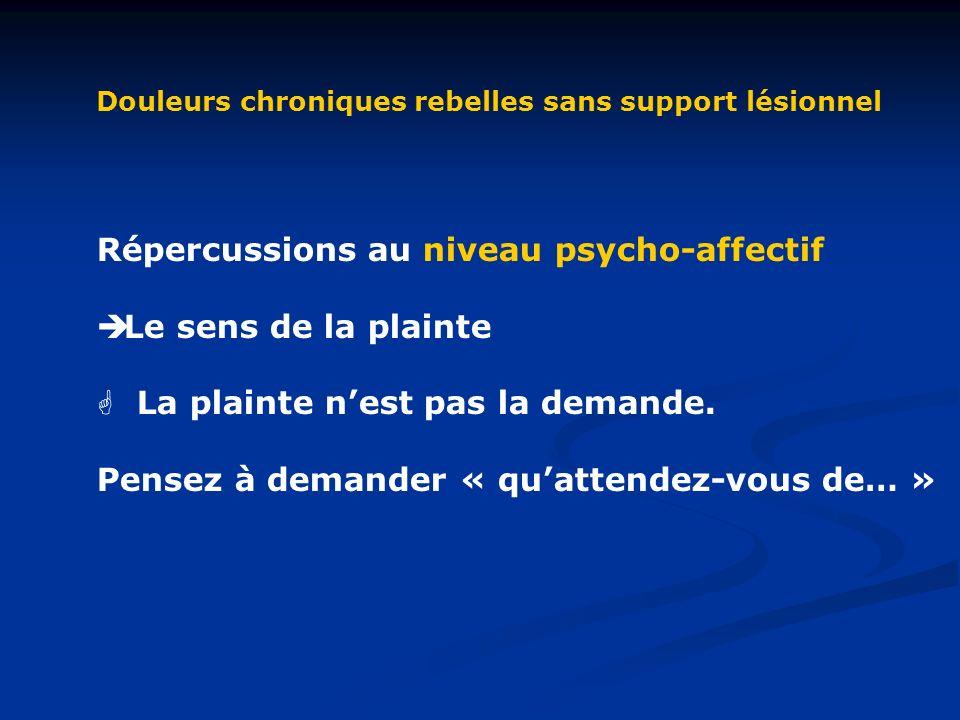 Douleurs chroniques rebelles sans support lésionnel Répercussions au niveau psycho-affectif Le sens de la plainte La plainte nest pas la demande.