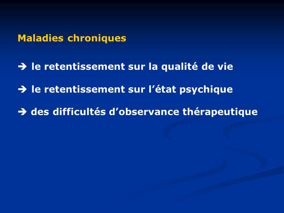 Maladies chroniques le retentissement sur la qualité de vie le retentissement sur létat psychique des difficultés dobservance thérapeutique